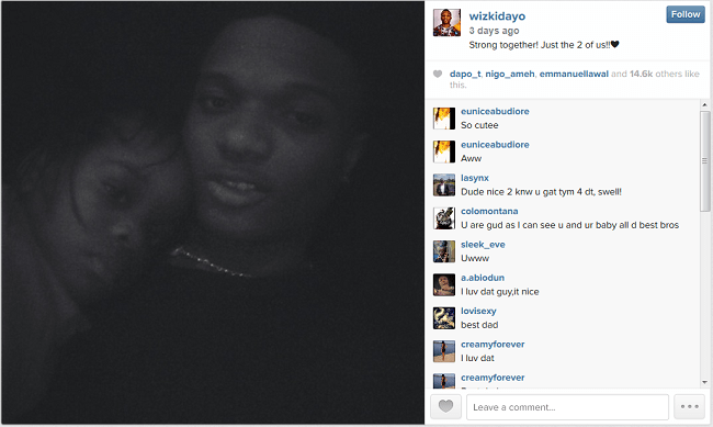 Wizkid shares photo of his Son on instagram
