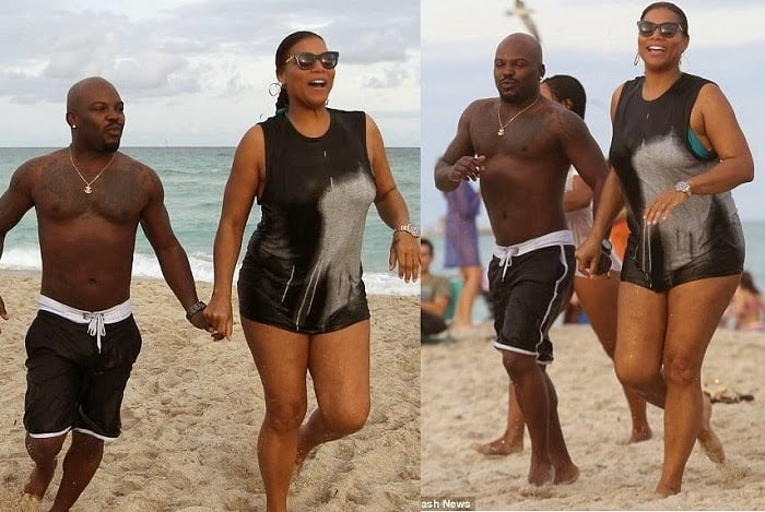 QueenLatifahspottedholdinghandswithaguyatthebeach - Queen Latifah spotted holding hands with a guy at the beach