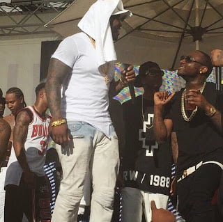 Video: Davido performs on stage with 50cent and Jeremih in Vegas