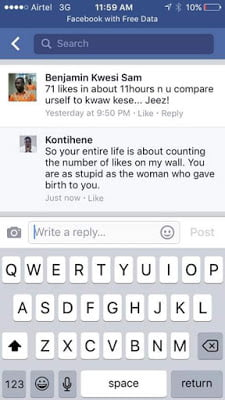 Kontihene blasts Music Fan on Facebook