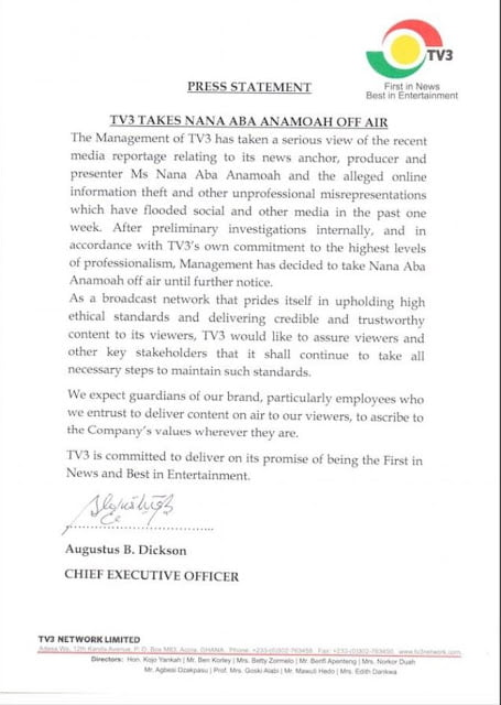 letter - Tv3 Ghana Sacks Nana Aba Anamoah For 'unprofessional' conduct