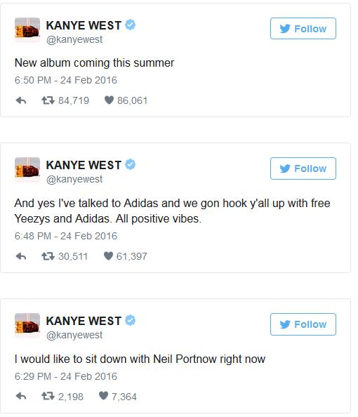kanyetyweet1 - Kanye West Slams The Grammys On Twitter