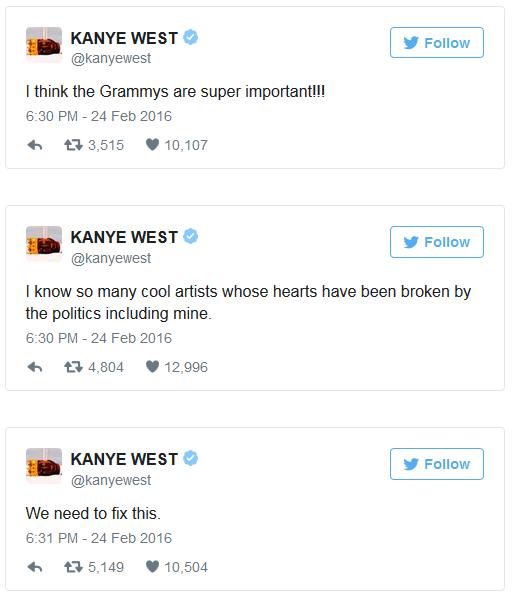 kanyetyweet2 - Kanye West Slams The Grammys On Twitter
