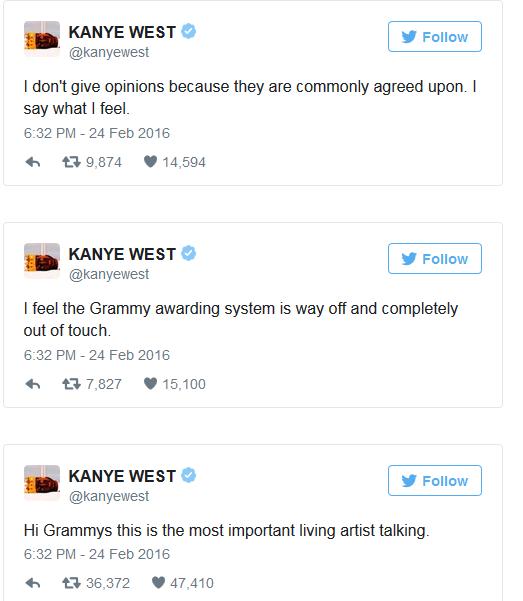 kanyetyweet3 - Kanye West Slams The Grammys On Twitter
