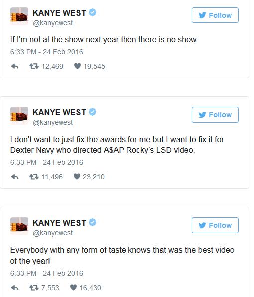 Kanye West Slams The Grammys On Twitter