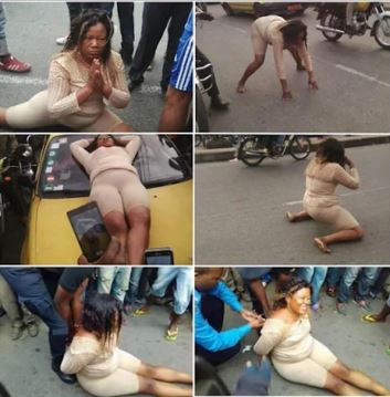 WomanGoesMadInPublic2Cabandonscar2CStripsHerself Photos3 1 - Woman Goes Mad In Public, Abandons car, Strips herself - Photos