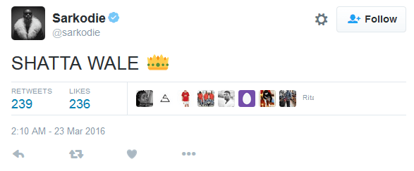 srakcrownsshattawale - Sarkodie Crowns Shatta Wale Dancehall King, See What He Wrote