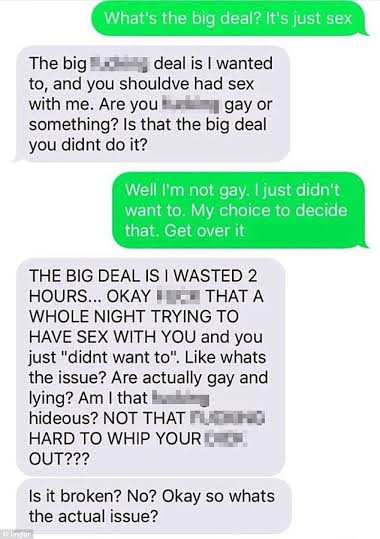 2Womanupsettheydidn27thavesexonfirsttheirdate2CThischatwillblowyourmind... - Woman upset they didn't have sex on their first date, This chat will blow your mind...