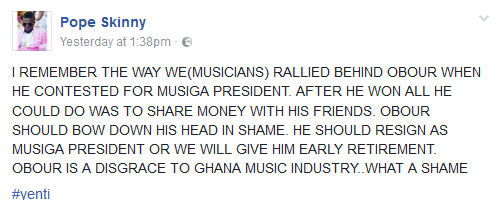 Obour Is A Disgrace To Ghana Music Industry Pope Skinny - Obour Is A Disgrace To Ghana Music Industry - Pope Skinny