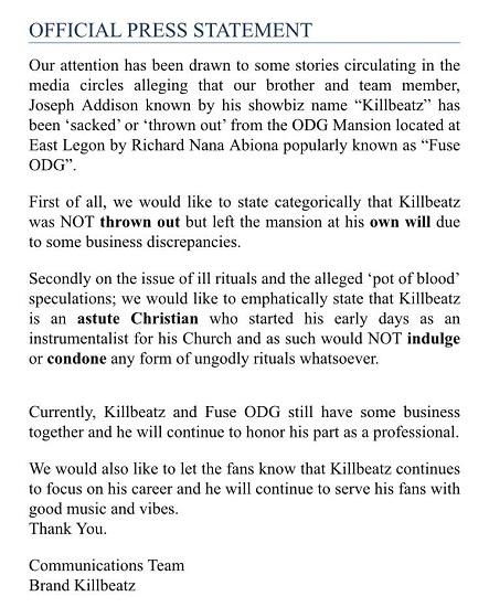 killbeatz press statement - Killbeatz vacated ODG's mansion voluntarily - Press Statement